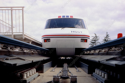 Front view of Japanese Maglev train and track