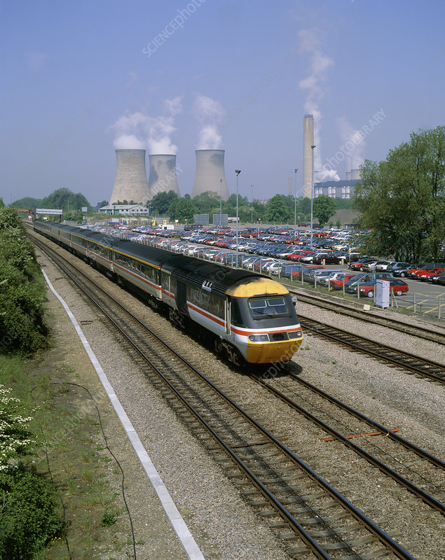 125 train passing car park & Didcot power station