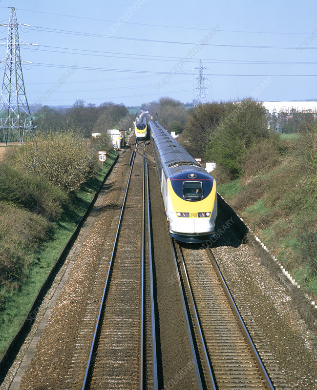 Eurostar Channel Tunnel trains passing on a track