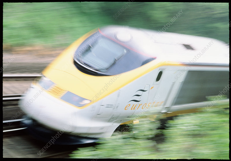 Time-exposure image of a Channel Tunnel train