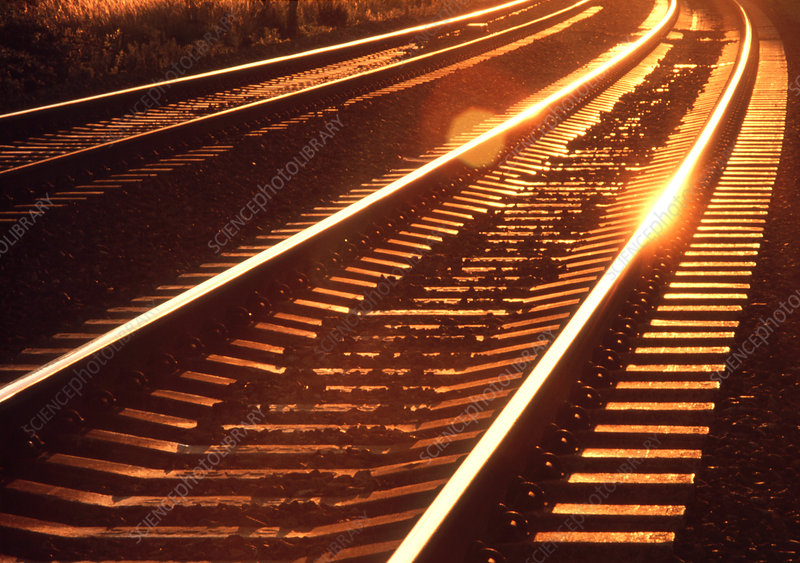 View of railway lines at sunset