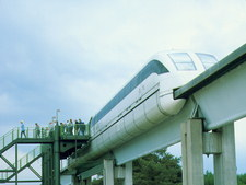 Magnetic levitation train on its guideway