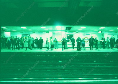 Commuters at an underground station