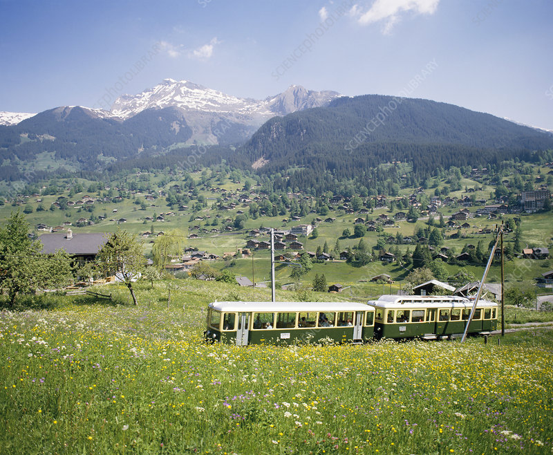 Mountain railway in Switzerland