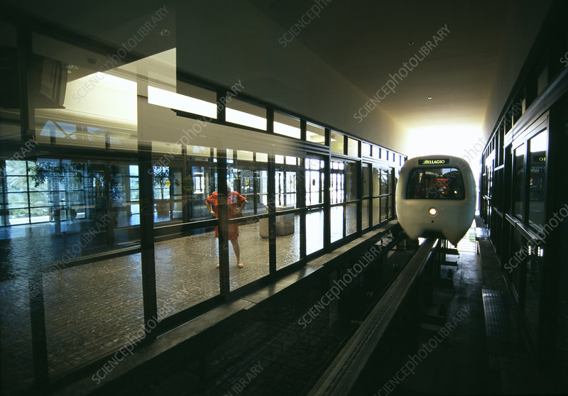 Monorail in station