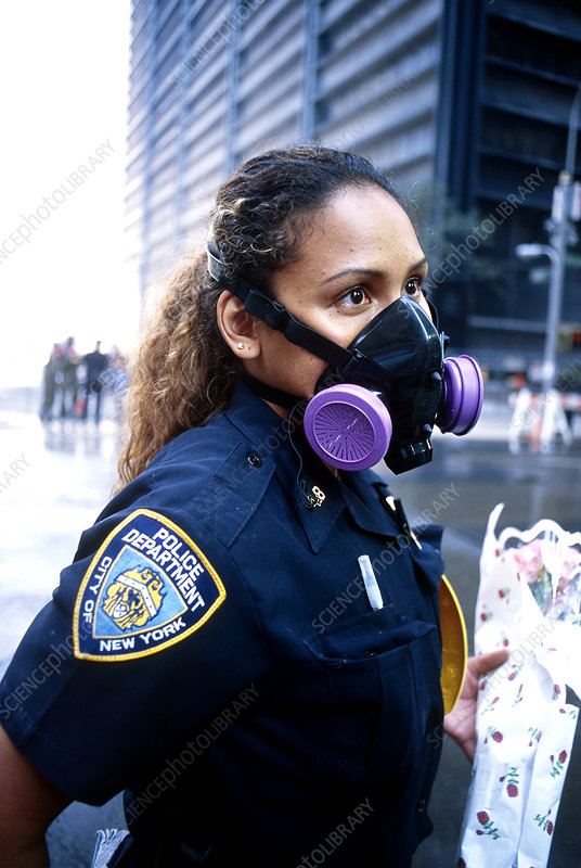 Police Officer Wearing a Gas Mask