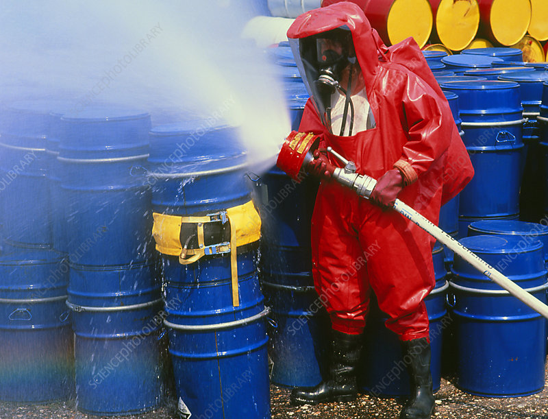 Fireman in a chemical protection suit.