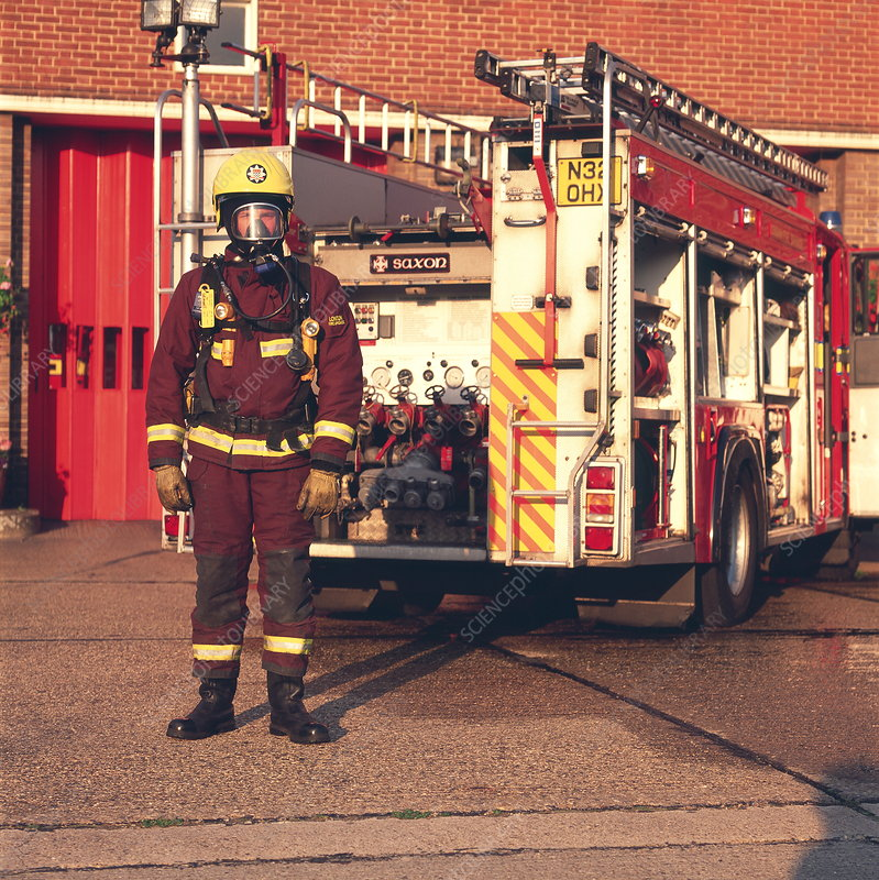 Firefighter and engine