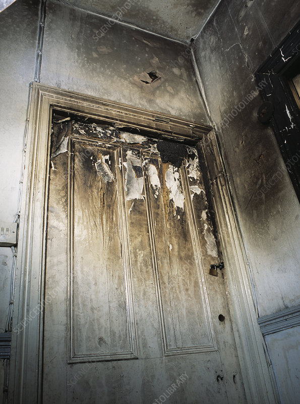Fire damaged door