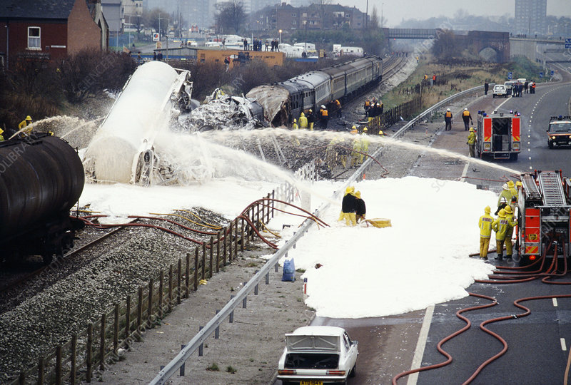 Firefighters at a train crash