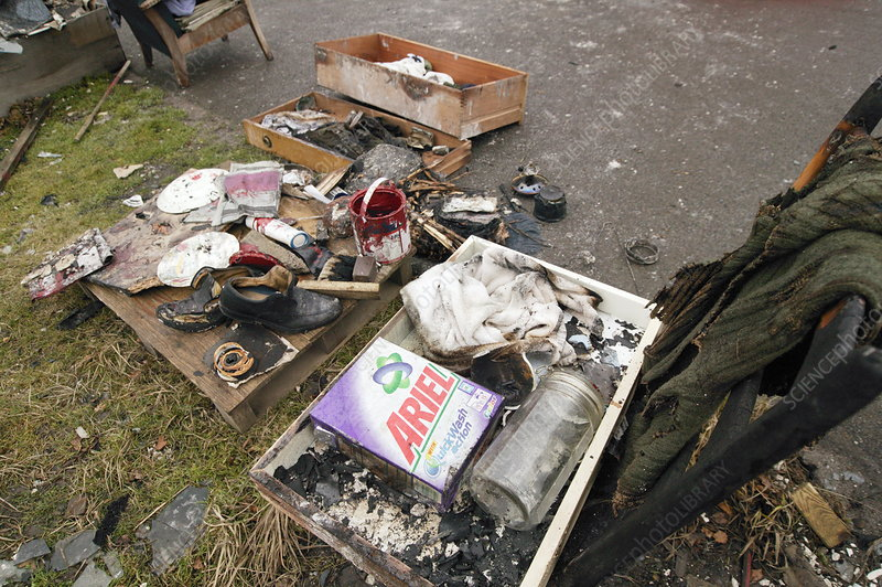 Personal belongings from a house fire