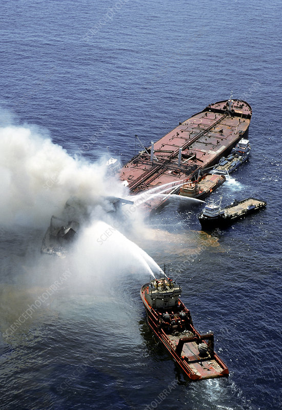 Norwegian oil tanker on fire, Gulf of Mexico