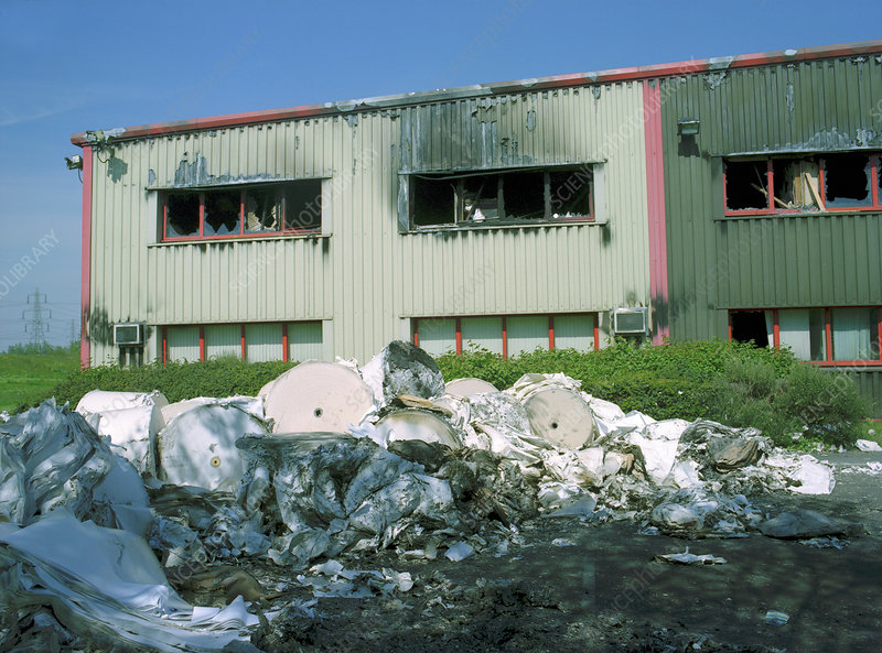 Fire-damaged printing works