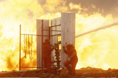 Fighting gas and oil fire
