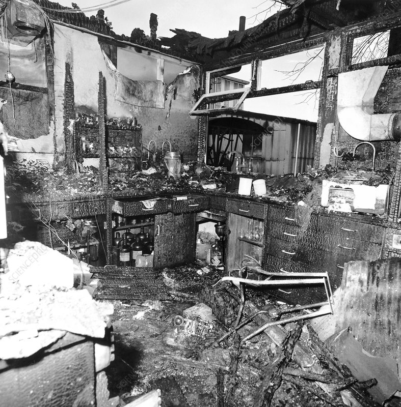 Laboratory destroyed by fire, 1968