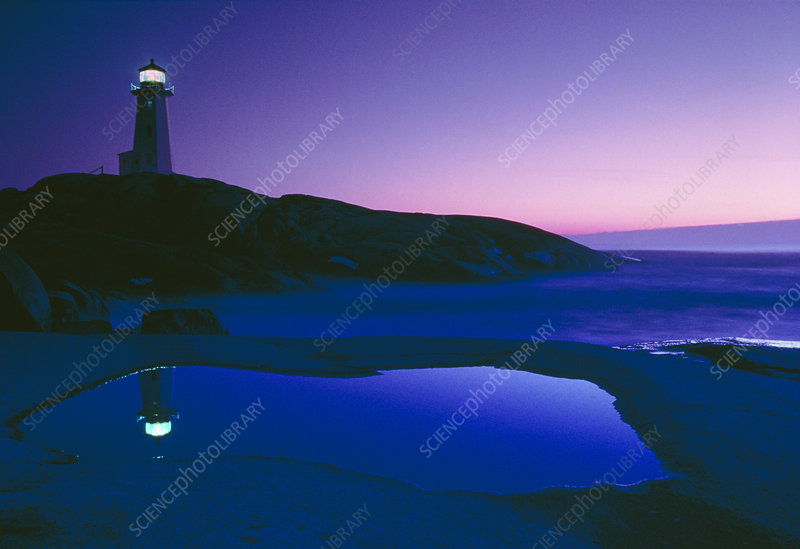 Dusk view of lighthouse, Nova Scotia