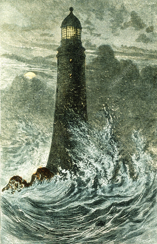 Artwork of the third Eddystone Lighthouse, England