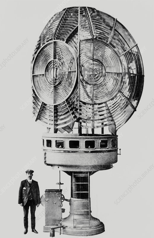 Fresnel's optical system for a lighthouse