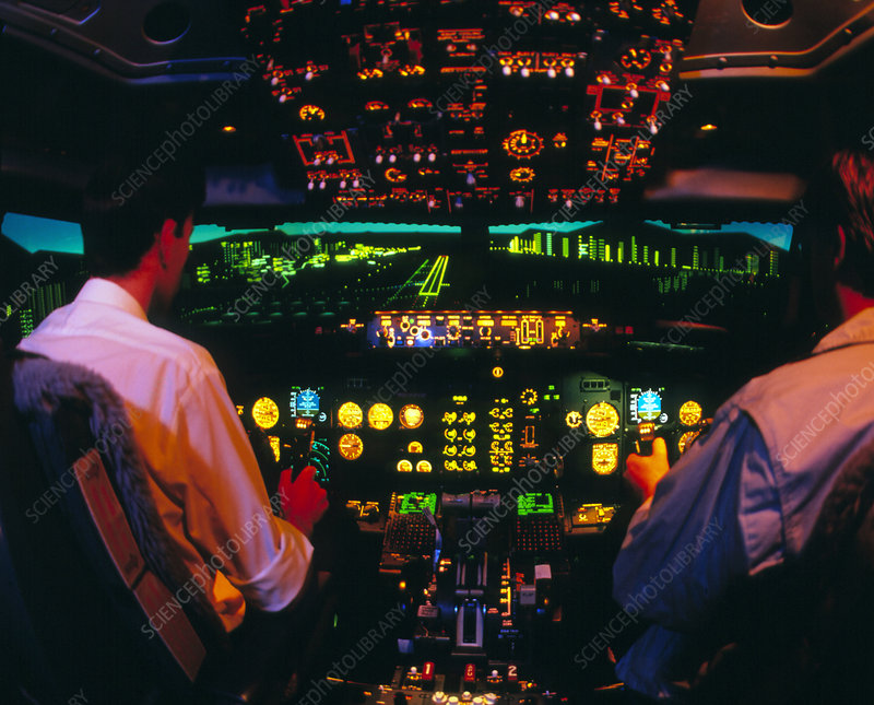 Interior of Boeing 737 simulator cockpit