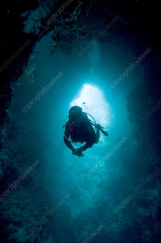 Diver exploring a Blue Hole
