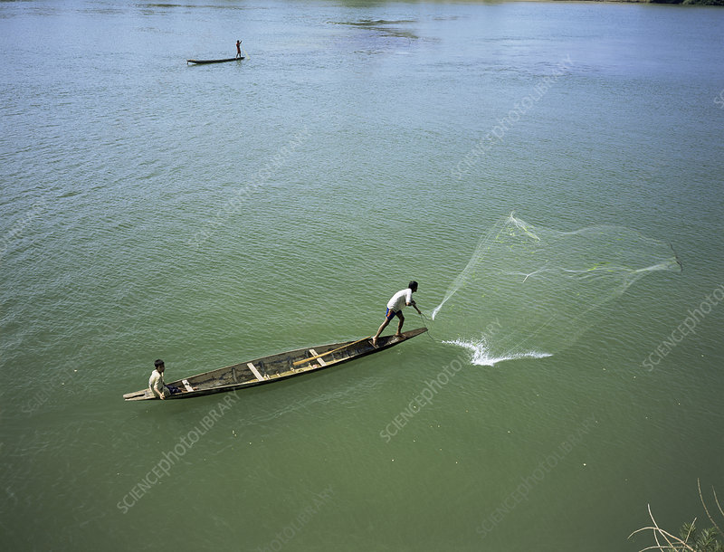 Men fishing, Laos, Asia