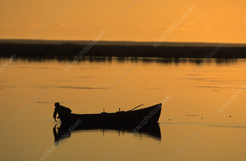 Fisherman on the Aral Sea