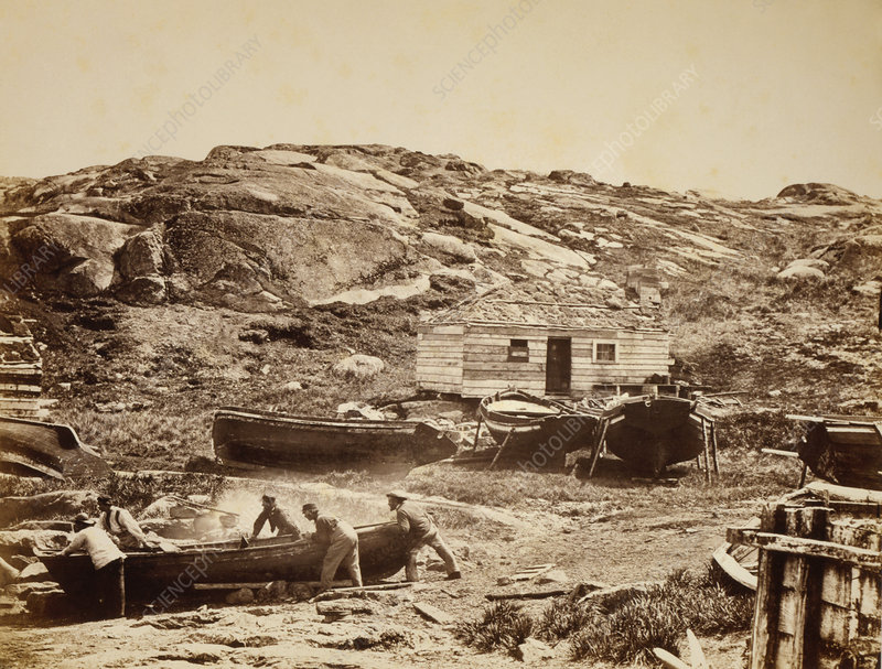 Whaling camp, Canada, 1864