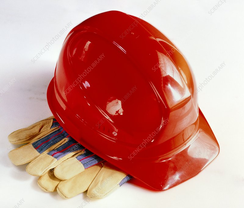 Hard hat and protective gloves