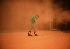 Wind tunnel test of man's clothing in a sandstorm