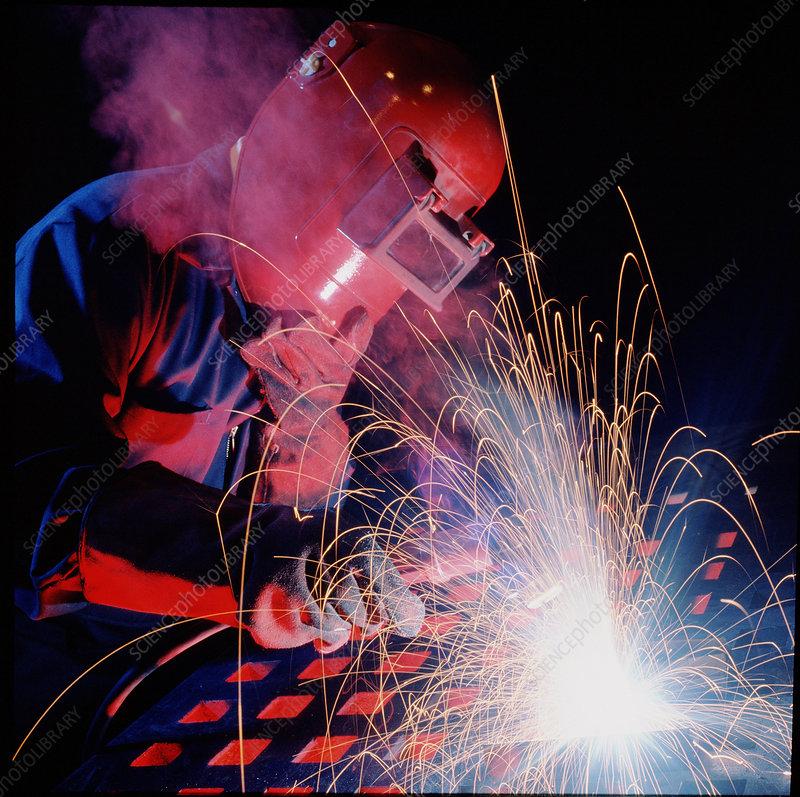 Arc welder at work