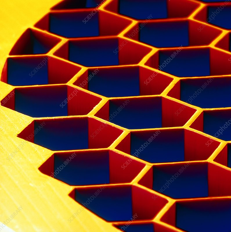 Coloured SEM of a copper honeycomb structure