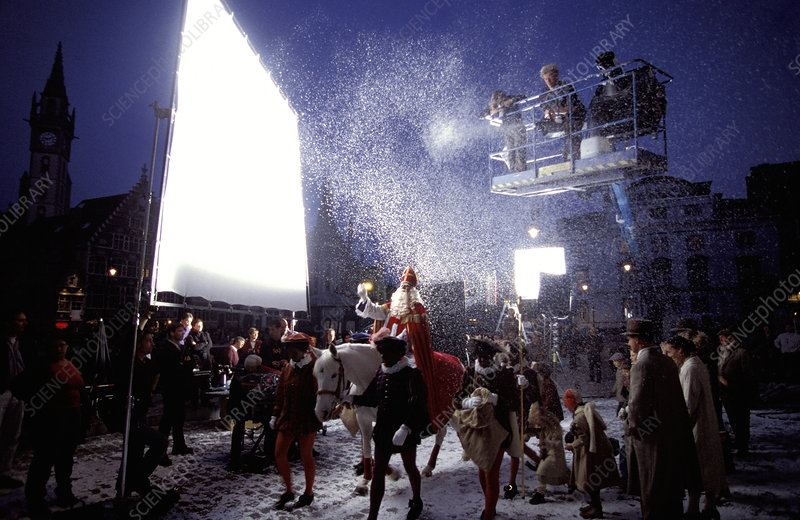 Filming with artificial snow