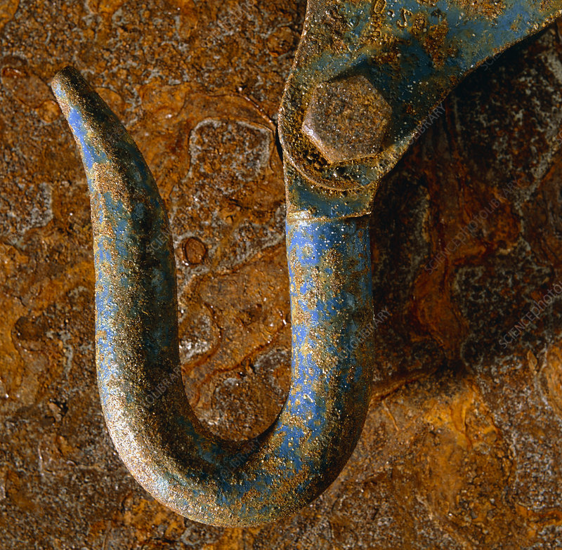 The effect of corrosion on a steel hook