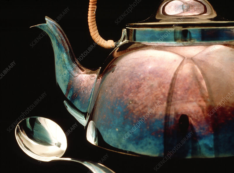 Tarnished silver kettle
