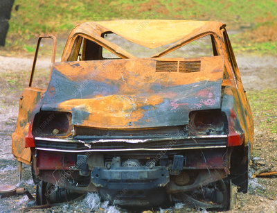 Rusted and abandoned car