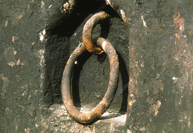 View of a corroding steel ring