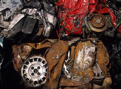 Rusting crushed cars