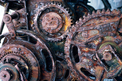 Rusted machine parts