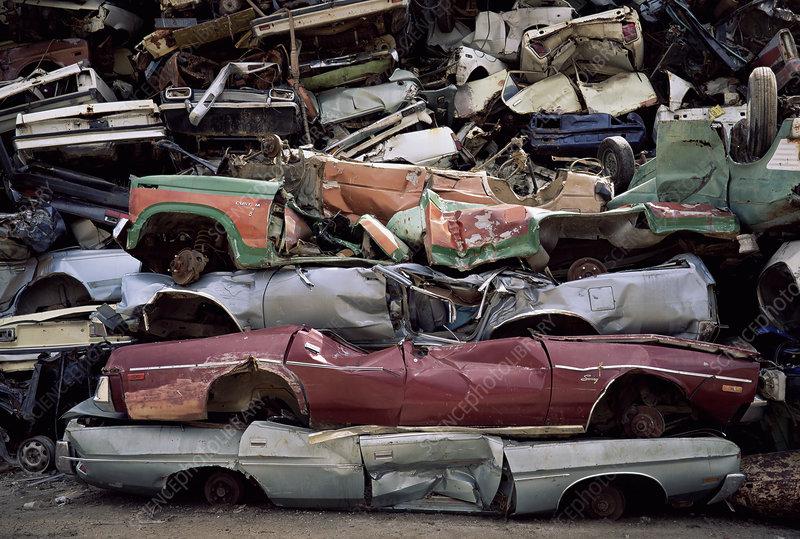 Flattened car bodies