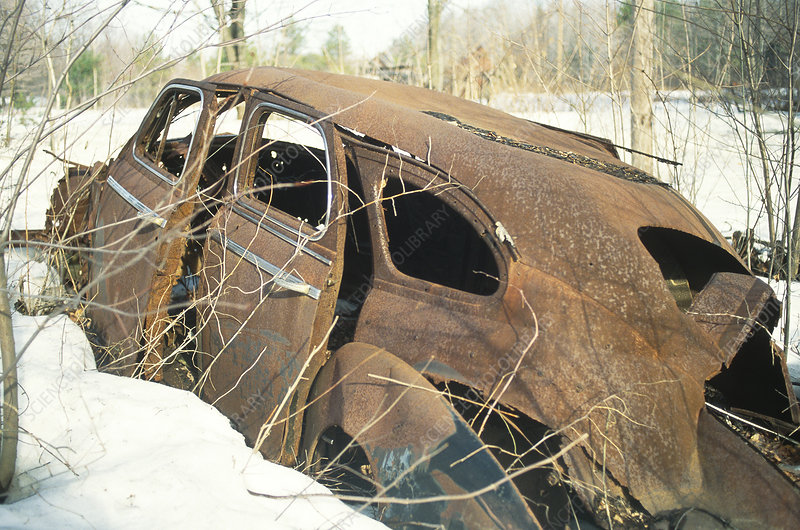 Rusted Car in natural winter environment