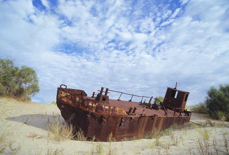 Drying of the Aral Sea, rusting ship