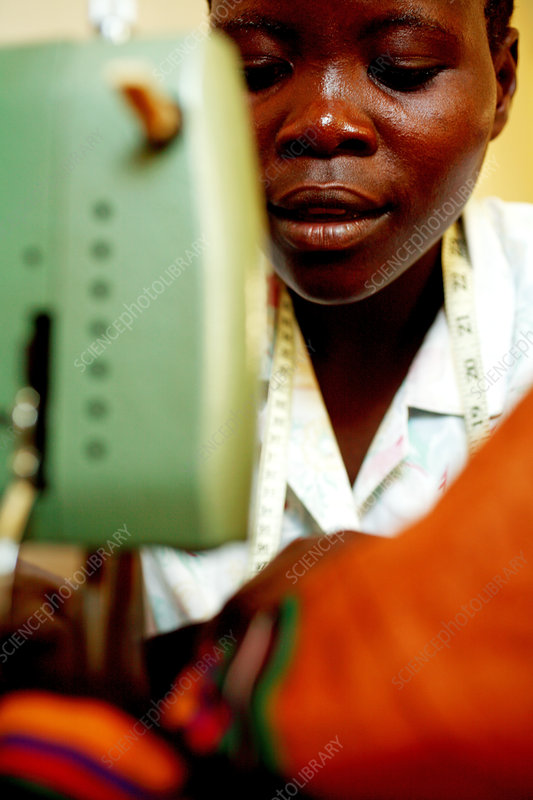 Using a sewing machine, Uganda