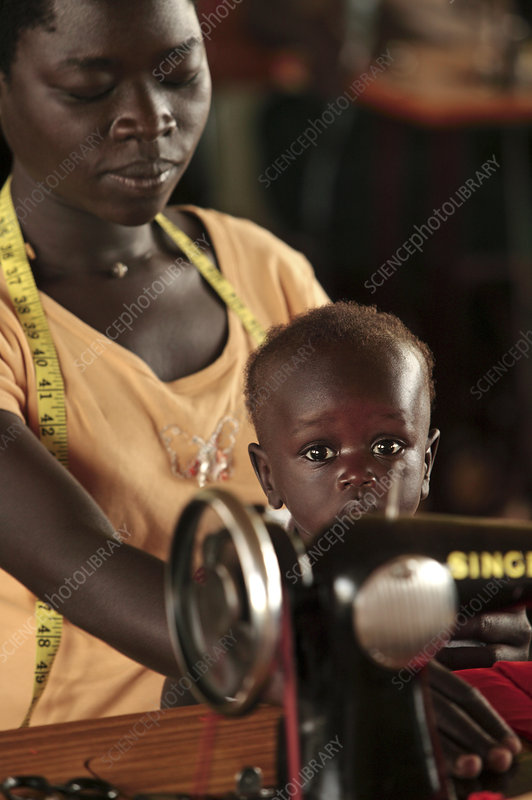 Working mother and child, Uganda