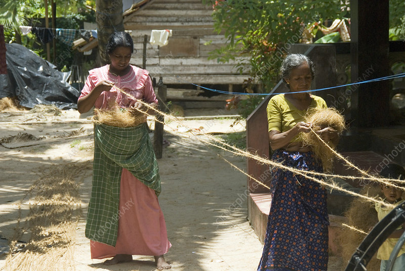 Coir rope production, Kerala, India
