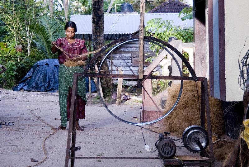 Coir rope production, Kerala, India
