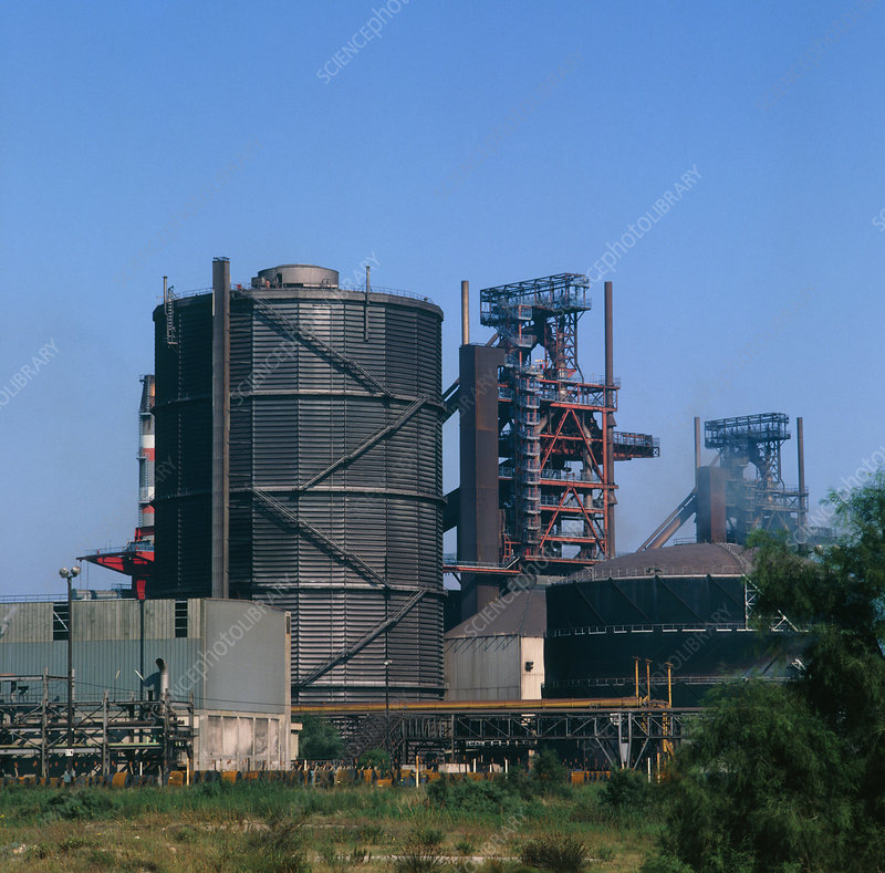 Blast furnaces & water storage tower,steel works