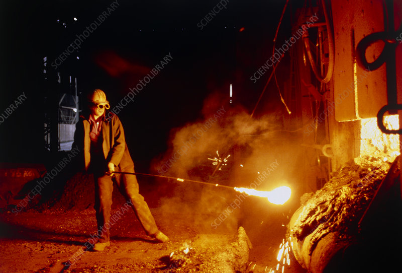 Steel worker with open-hearth furnace