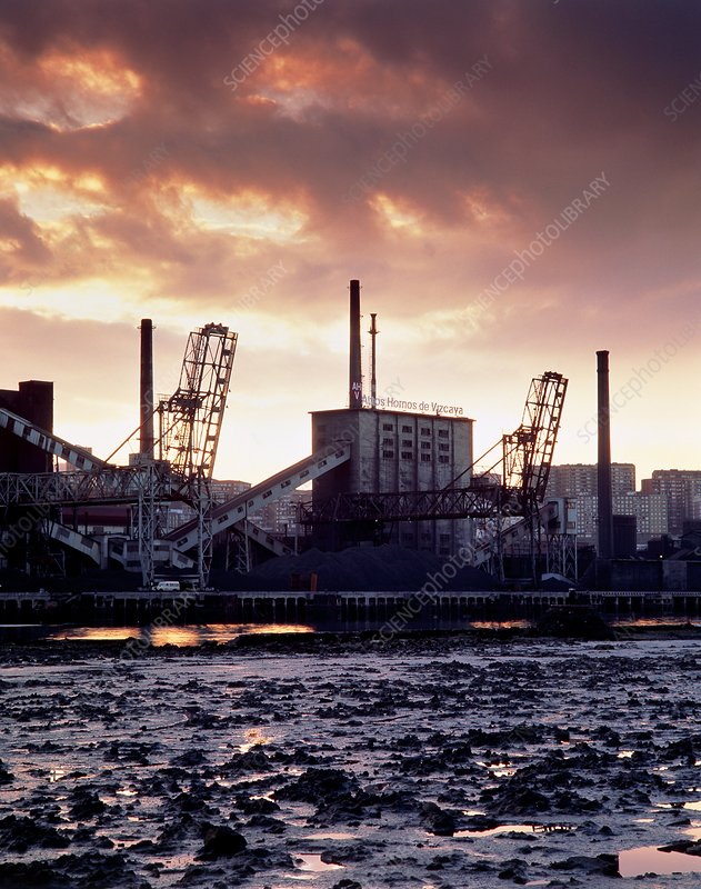 Steelworks on the Ria de Bilbao, Spain