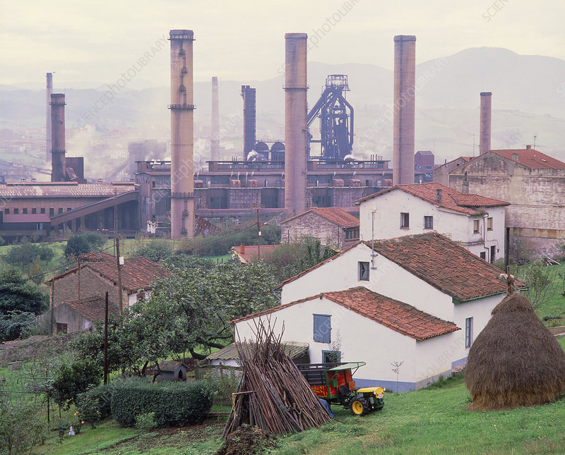 Steelworks near homes at Aviles, Spain