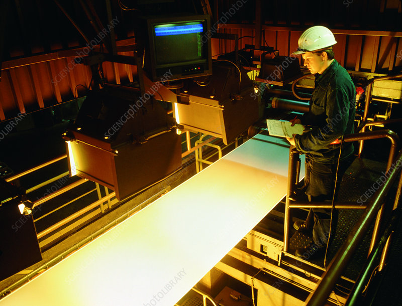 Visual inspection of a galvanised steel surface.